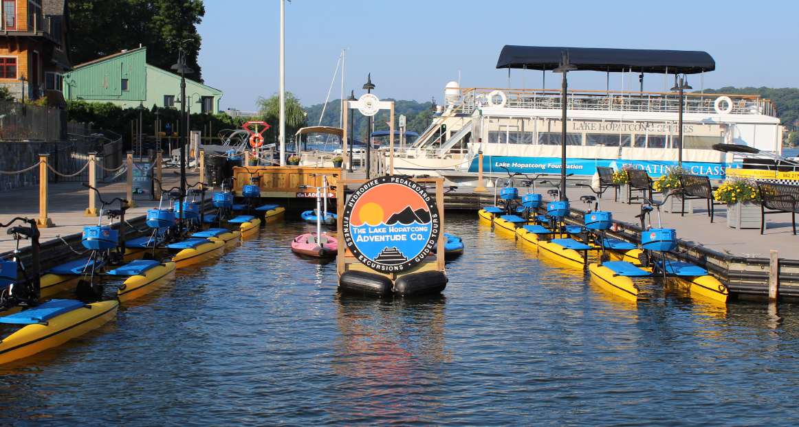 Hydrobikes at the dock ready for use.