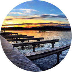 View of the sunset over the Lake Hopatcong Adventure Company docks.