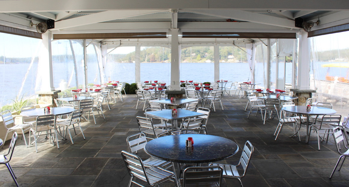 The outdoor patio seating at the Windlass restaurant.