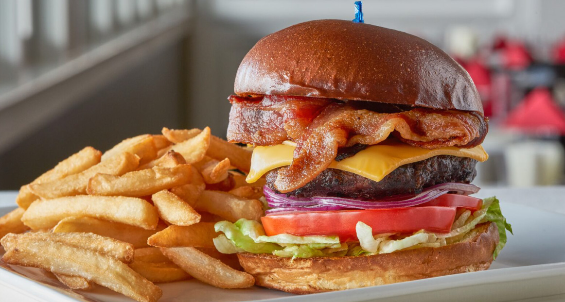 A bacon cheeseburger with the works at the Windlass restaurant.