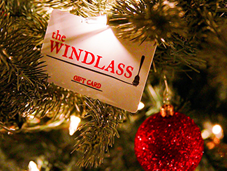 The Windlass gift card in a Christmas tree